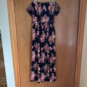 Hot Kiss Ruched Floral Maxi Dress